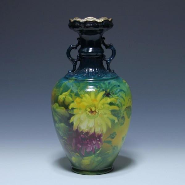 Franz Mehlem BONN Keramikvase DAHLIEN um 1900 - 28,5 cm
