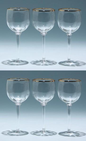 6 mundgeblasene Weingläser mit Goldrand - 17 cm