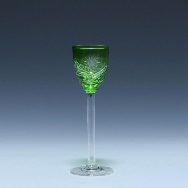 Art Deco Bleikristall Überfanglikörglas - resedagrün