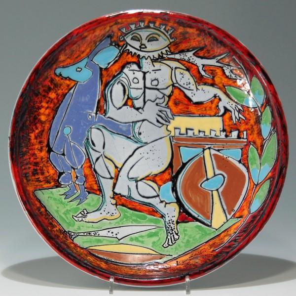Seltener Keramik Wandteller CERAMICA R.S.M. - Italien 1950er Jahre