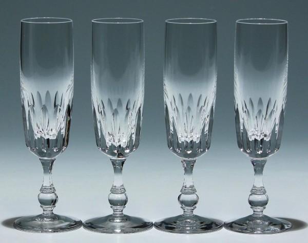 4 Bleikristall Sektgläser mit Tiefschliff - 1960er Jahre-Copy