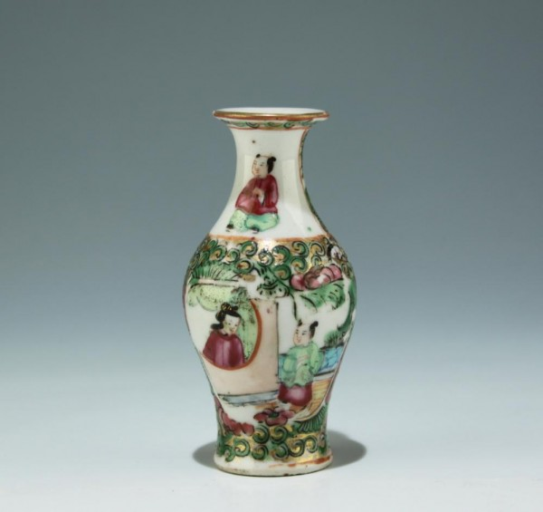 Small Chinese Canton Porcelain Famille Rose Vase 9 cm