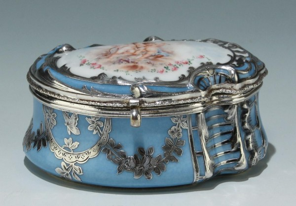 Sèvres Silver Overlay Tabatière or Jewelry Box dated 1857