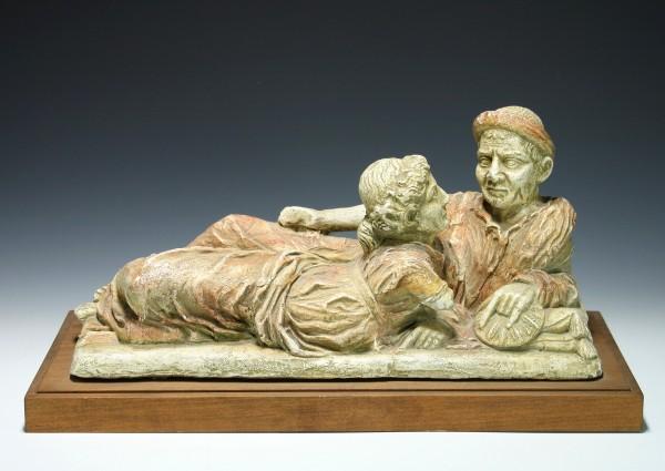 Museumsabguss eines etruskischen Urnendeckels Etruscan Guarnacci Museum Volterra