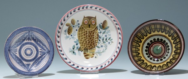 3 kleine Keramiktellerchen - 1950-70er Jahre
