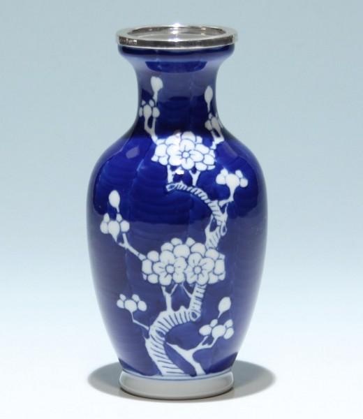 Handpainted Chinese Porcelain Vase STERLING rim - 2nd Half of 20th C.