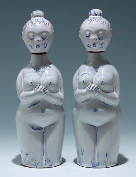 2 figürliche Keramikflaschen - wohl 1970er Jahre