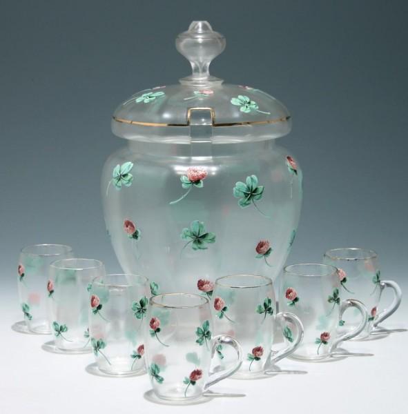 Handbemaltes Jugendstil Bowlegefäß mit 7 Bechern - Kleeblattmotiv