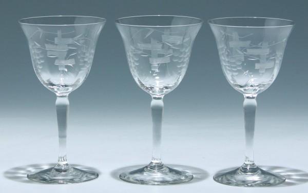 3 Weingläser aus dem Service RHEIN - 1950er Jahre