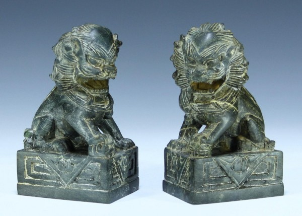 A Pair of Chinese Soapstone Foo Lions - 14 cm