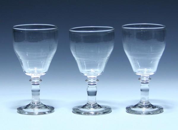 3 Weingläser mit Abriss - 19. Jh. - 12,5 cm