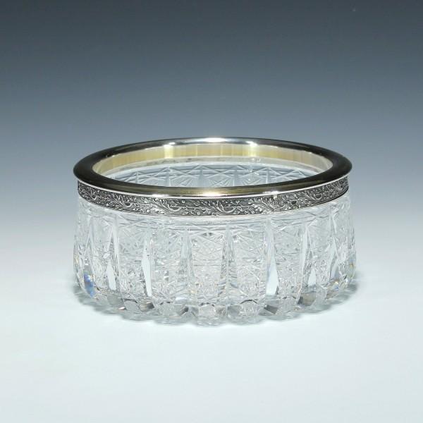 Russische Bleikristallschale mit 875er Silberrand