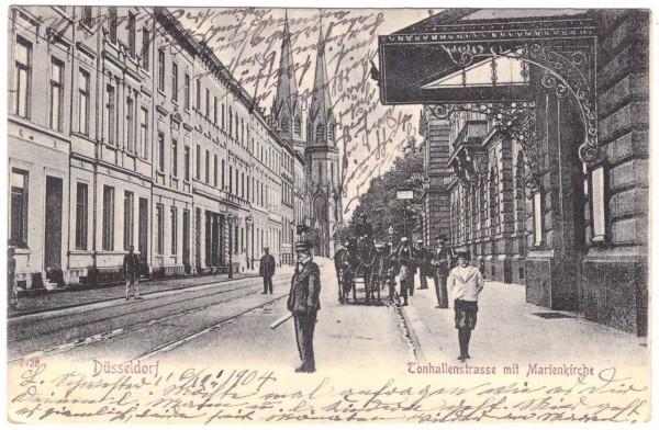 AK DÜSSELDORF Tonhallenstrasse mit Marienkirche - gelaufen 1904 #ak0092
