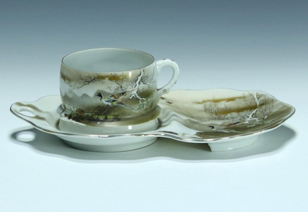 Handpainted Japanese Eggshell Cup and Saucer - 1930s