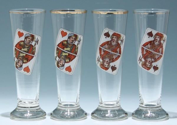 4 Biergläser mit Spielkartenmotiven 1/4 L. - 1. H. 20. Jh.