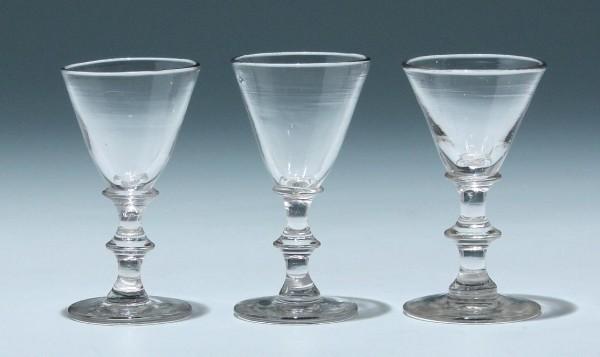 3 Kelchgläser - Frankreich 19. Jh. - 9,4 + 9,2 cm