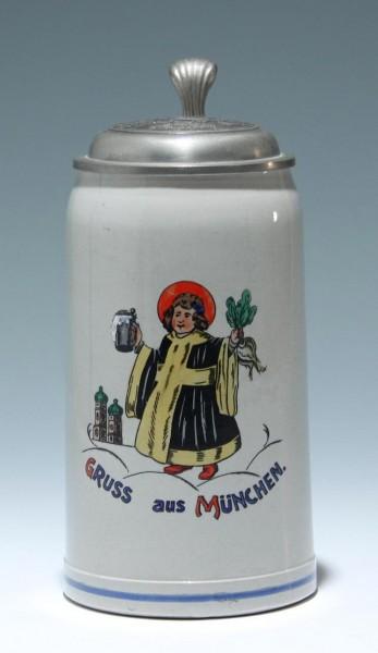 1,0 L. Bierkrug mit Zinndeckel MEILLER KIPPER Mitte 20. Jh.