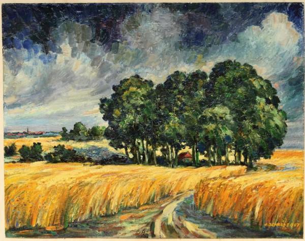 Ölgemälde SCHAFSTALL ROHDE BEI EBSTORF-TEENDORF HANSTEDT I von Hermann Schröder (1897-1972)