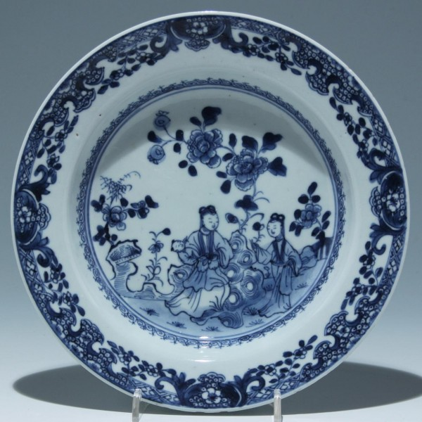 Chinese Porcelain Garden Scene Plate - Daoguang Period