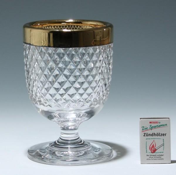Bleikristallvase mit Schliff und Sterling Silber Rand 1960er Jahre