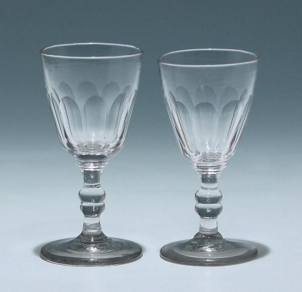 Paar Portweingläser mit Ausschliff - Ende 19. Jh. - 11,6 cm