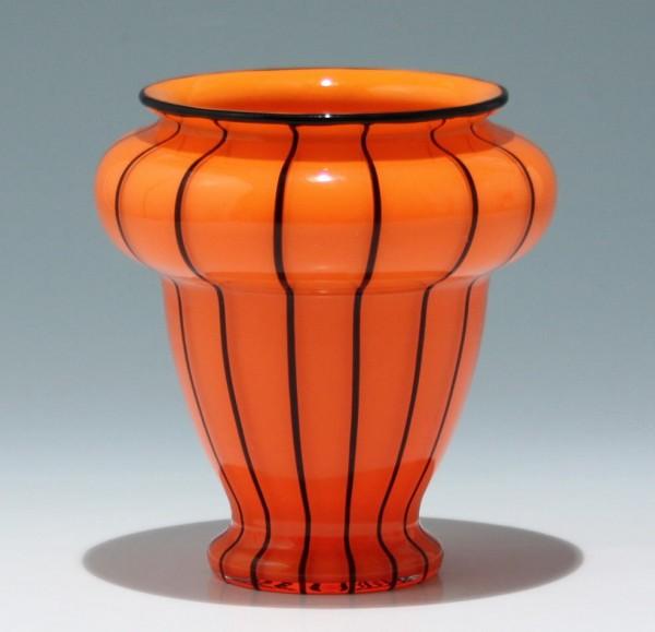 """Loetz Vase """"Orange mit schwarzen Streifen"""""""
