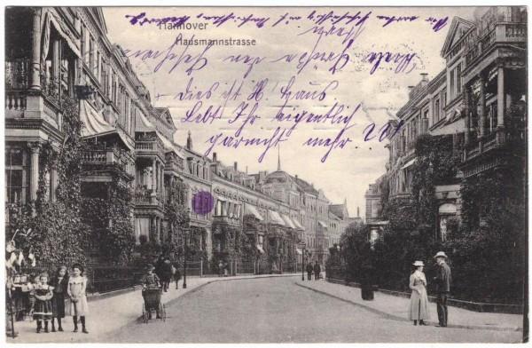 AK - HANNOVER - Hausmannstrasse - gelaufen 1909