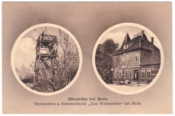 Ansichtskarte MELLE - OTTOSHÖHE - ZUM WALDMEISTER gelaufen 1912 #ak0087