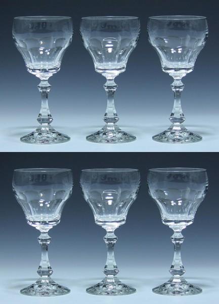 6 Schott Bleikristall Weingläser 1970er Jahre