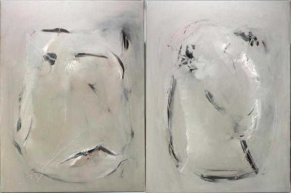 Paar abstrakte Acryl Gemälde 80,5 x 60,5 cm
