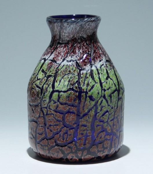 Modern Overlay Crackle Glass Vase - 21,4 cm