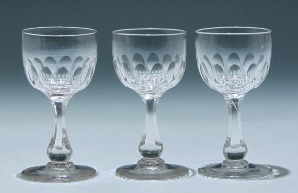 3 Bleikristall Kelchgläser Frankreich circa 1900 - Höhe 12,3 cm
