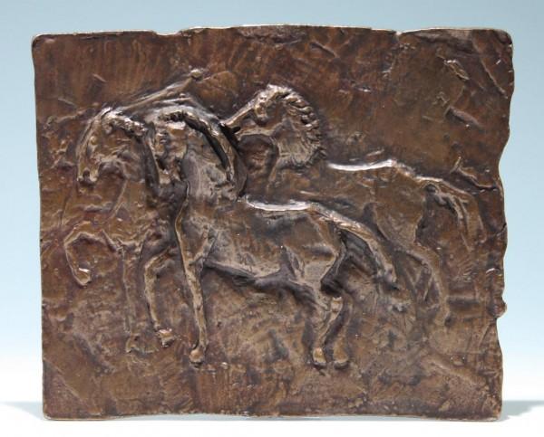 Bronzeguss Wandplatte PFERDE 1950/60er Jahre