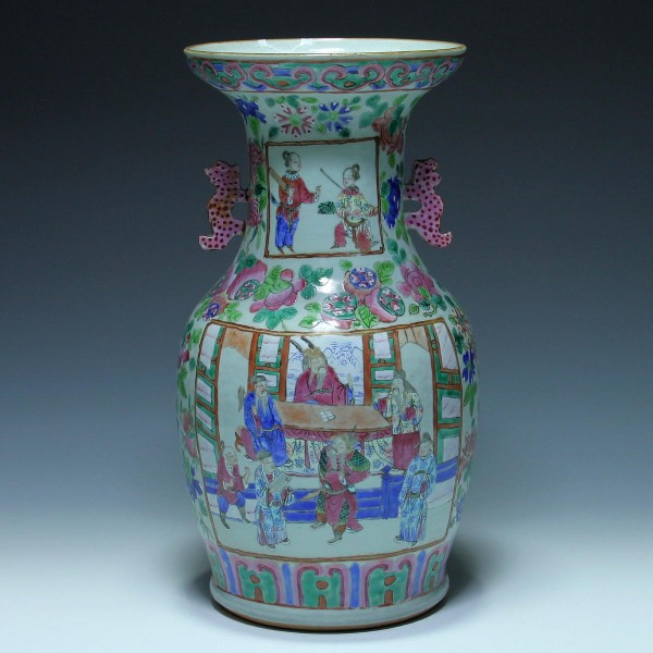 Handpainted Chinese Canton Famille Rose Vase - 19th. C. - 34 cm