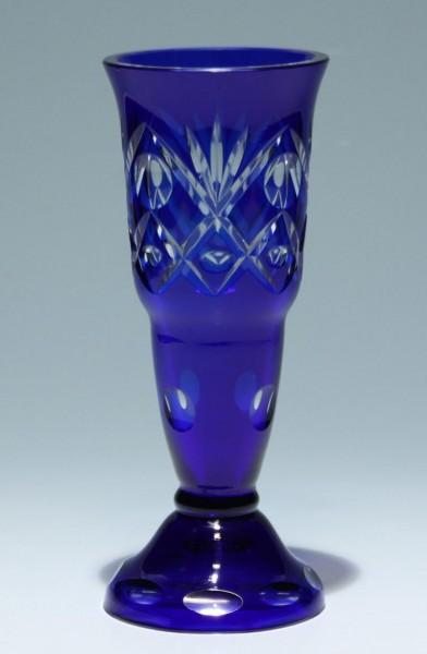 Blaue Art Deco Überfangglas Vase - Böhmen circa 1925