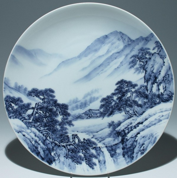 Artist Signed Fukagawa Blue + White Porcelain Plate / Charger