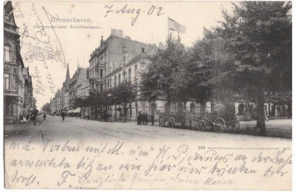 Ansichtskarte BREMERHAVEN Bürgermeister Smidtstrasse - gelaufen 1902 #ak0011