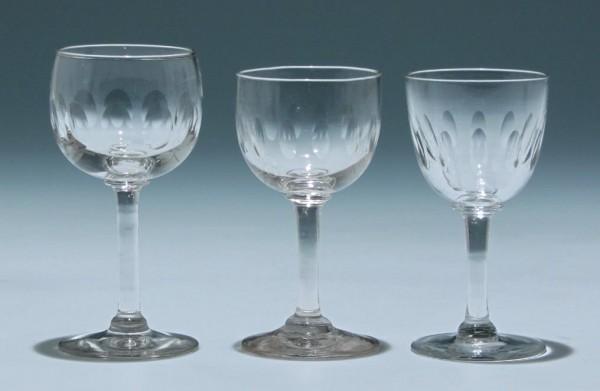 3 Kelchgläser Frankreich circa 1900 - Höhe ca. 11,3 + 10,5 cm