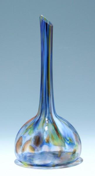 Mundgeblasene Keulenvase mit farbigen Glaskröseleinschmelzungen 29,3 cm