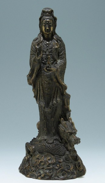 Bronze Guanyin on Dragon Figure - China 20th C. - 37 cm