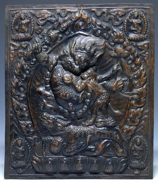 Tibetan Mahakala Buddhist Repoussée Copper Placque - 20th C.