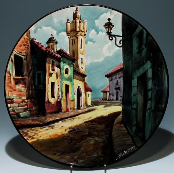 Großer signierter spanischer Keramik Wandteller 39,5 cm