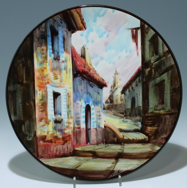 Großer signierter spanischer Keramik Wandteller 30,8 cm