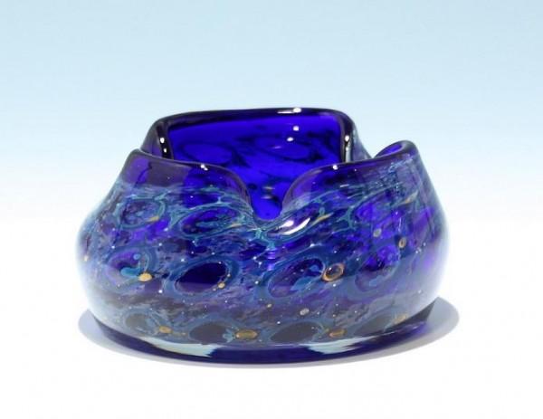 Glas Ascher mit Pfauenaugendekor Eisch Glashütte
