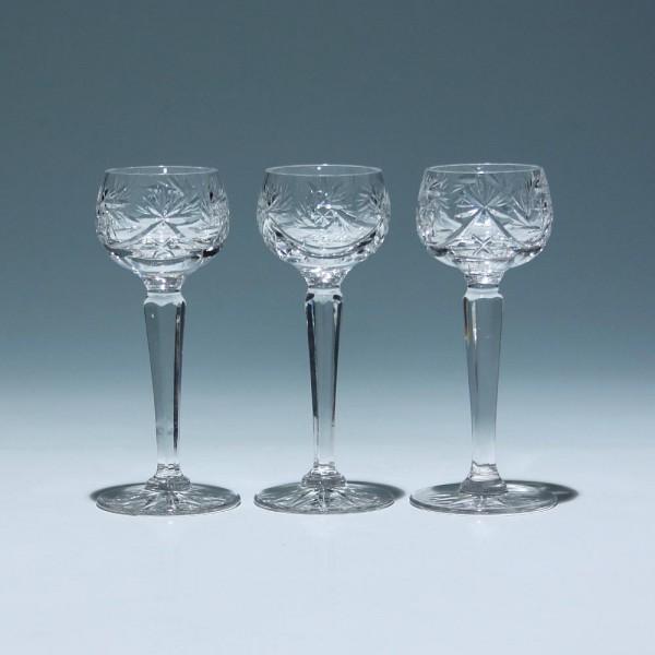 3 Bleikristall Likörgläser mit Schleuderstern - 1. H. 20. Jh.-Copy
