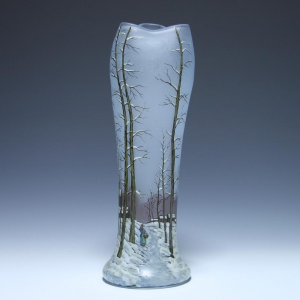 Legras Jugendstil Vase mit Winterlandschaft - 33 cm
