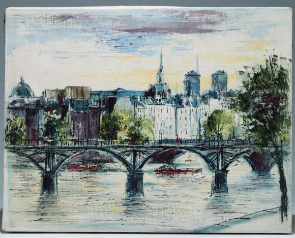 PARIS Druck auf Leinwand nach Bernard Buffet 1960/70er Jahre 30 x 38 cm