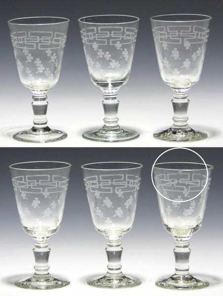 6 Weingläser mit Kleeblattmotiv - circa 1900 - 13 cm