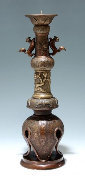 Alter chinesischer Bronze Kerzenleuchter - 44 cm