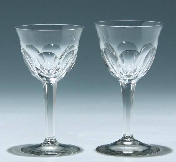 2 Weingläser mit Schälschliff - 1. H. 20. Jh.